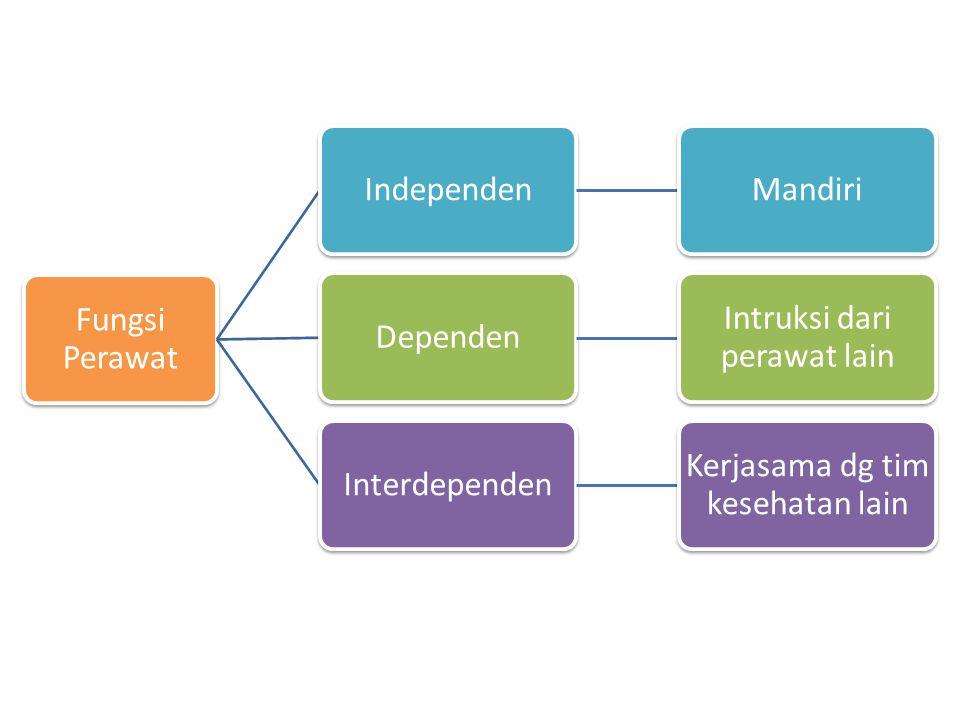 Fungsi Perawat IndependenMandiriDependen Intruksi dari perawat lain Interdependen Kerjasama dg tim kesehatan lain