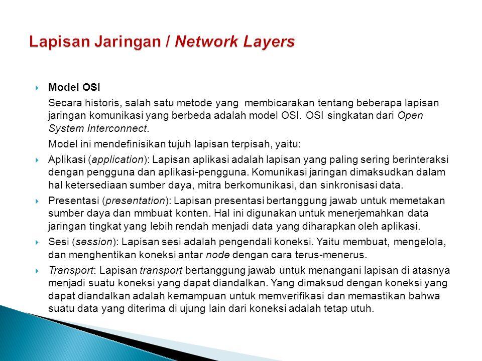  Model OSI Secara historis, salah satu metode yang membicarakan tentang beberapa lapisan jaringan komunikasi yang berbeda adalah model OSI. OSI singk