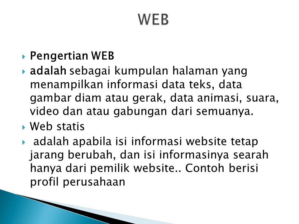  Pengertian WEB  adalah sebagai kumpulan halaman yang menampilkan informasi data teks, data gambar diam atau gerak, data animasi, suara, video dan a
