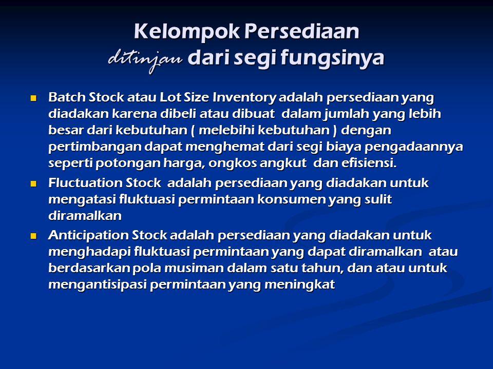 Kelompok Persediaan ditinjau dari segi fungsinya Batch Stock atau Lot Size Inventory adalah persediaan yang diadakan karena dibeli atau dibuat dalam j