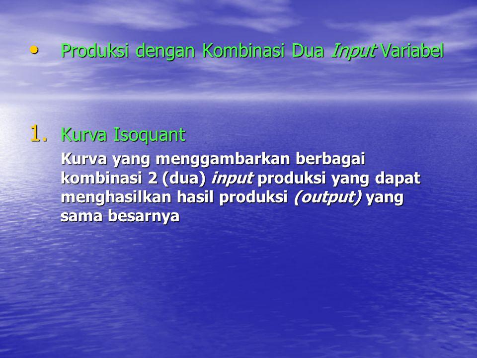 Produksi dengan Kombinasi Dua Input Variabel Produksi dengan Kombinasi Dua Input Variabel 1.