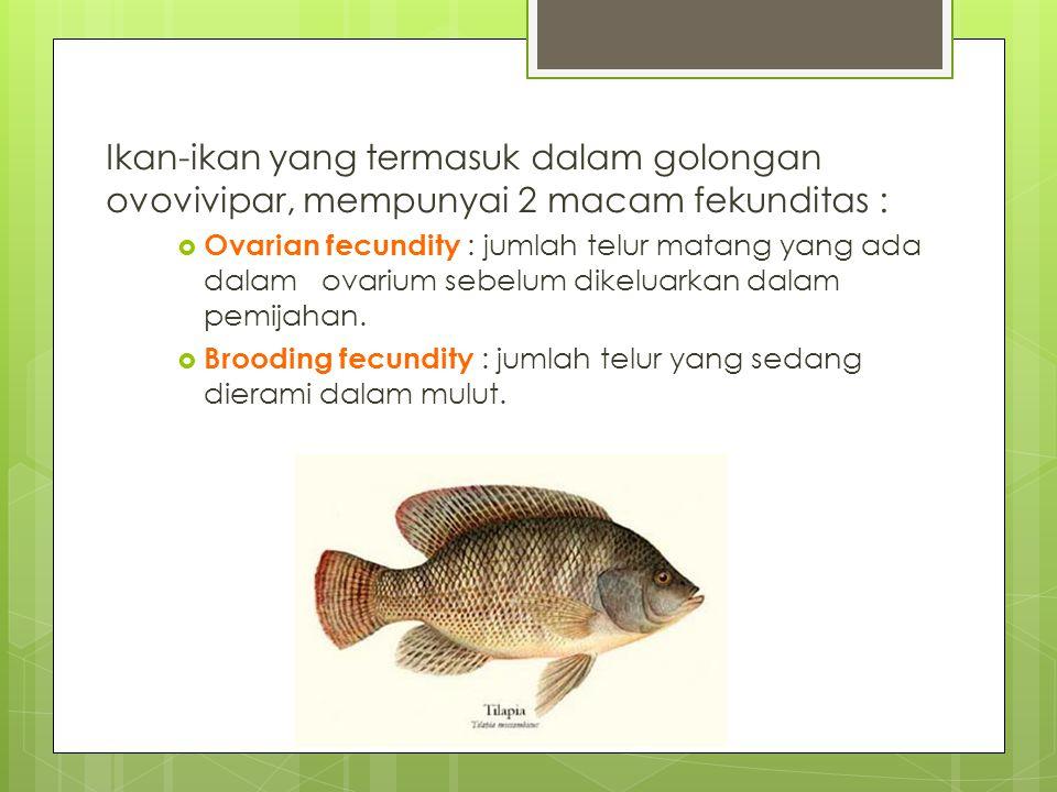 Ikan-ikan yang termasuk dalam golongan ovovivipar, mempunyai 2 macam fekunditas :  Ovarian fecundity : jumlah telur matang yang ada dalam ovarium sebelum dikeluarkan dalam pemijahan.