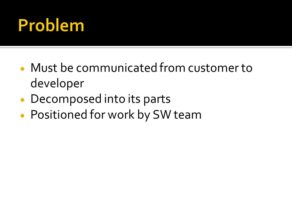  Must be communicated from customer to developer  Decomposed into its parts  Positioned for work by SW team
