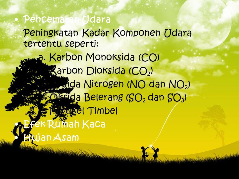 Pencemaran Udara Peningkatan Kadar Komponen Udara tertentu seperti: a. Karbon Monoksida (CO) b. Karbon Dioksida (CO 2 ) c. Oksida Nitrogen (NO dan NO