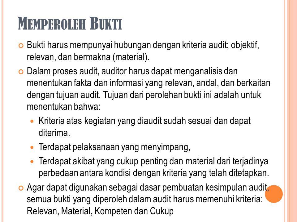 M EMPEROLEH B UKTI Bukti harus mempunyai hubungan dengan kriteria audit; objektif, relevan, dan bermakna (material). Dalam proses audit, auditor harus
