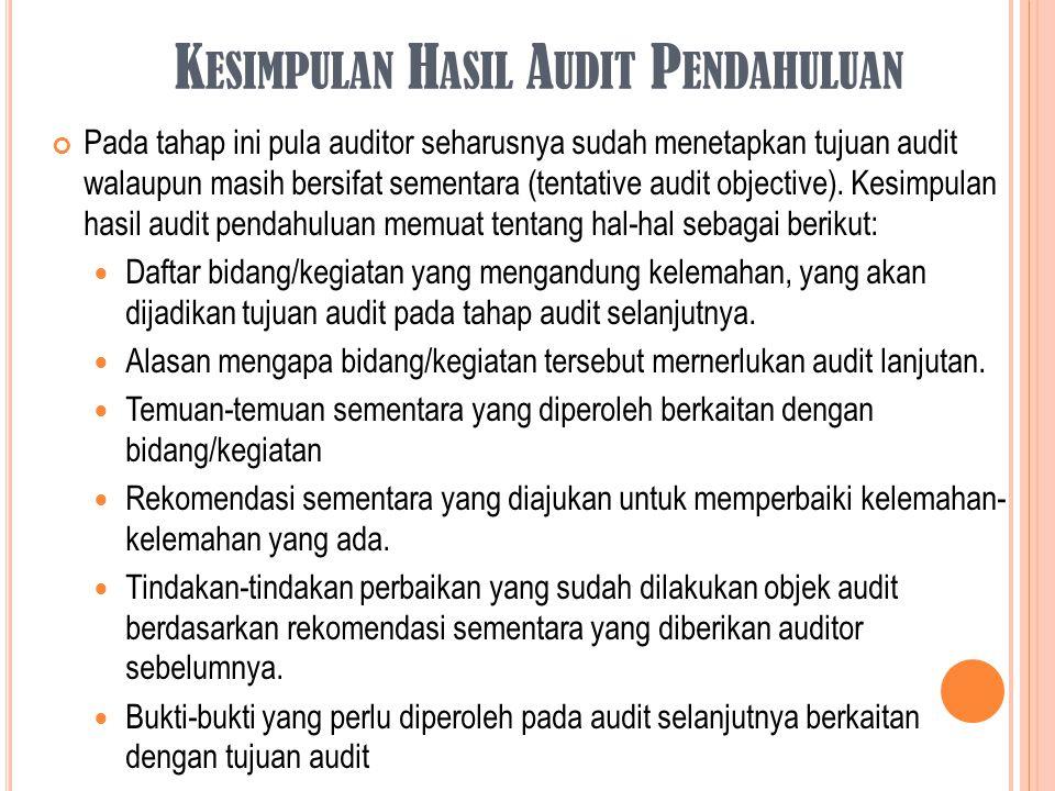K ESIMPULAN H ASIL A UDIT P ENDAHULUAN Pada tahap ini pula auditor seharusnya sudah menetapkan tujuan audit walaupun masih bersifat sementara (tentati