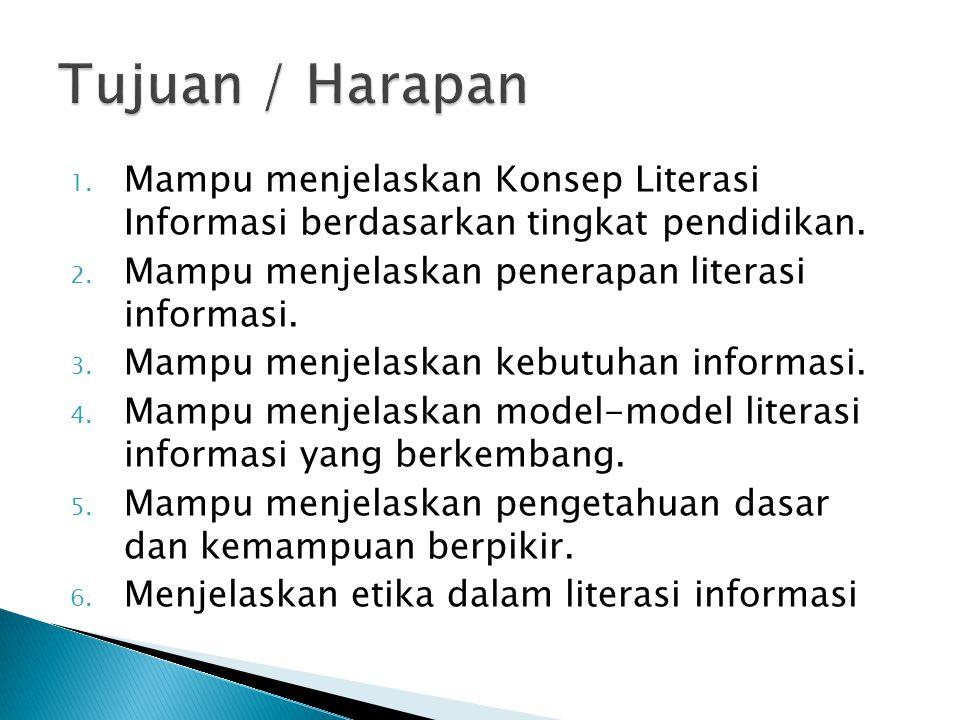 1. Mampu menjelaskan Konsep Literasi Informasi berdasarkan tingkat pendidikan. 2. Mampu menjelaskan penerapan literasi informasi. 3. Mampu menjelaskan