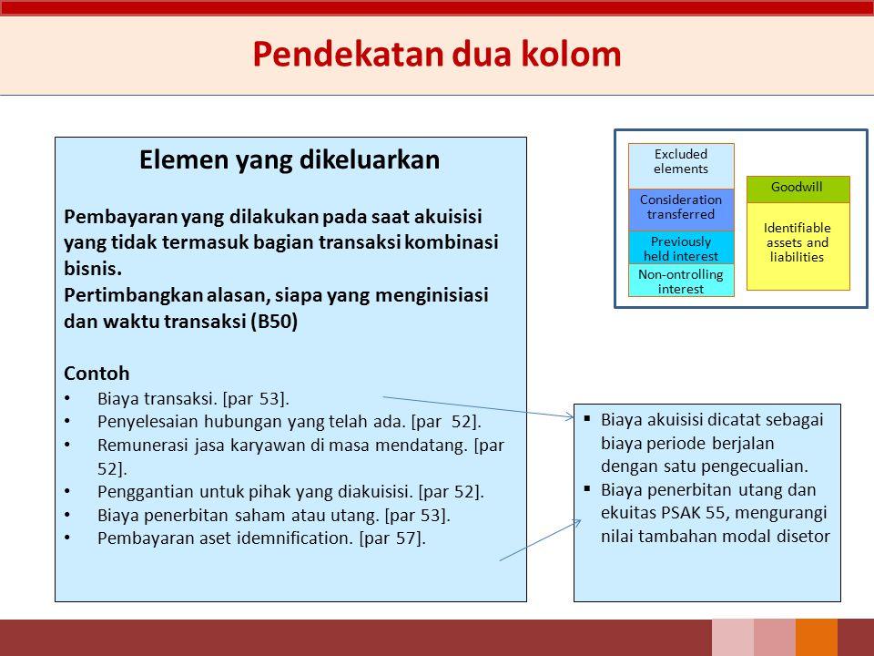 Pendekatan dua kolom Elemen yang dikeluarkan Pembayaran yang dilakukan pada saat akuisisi yang tidak termasuk bagian transaksi kombinasi bisnis. Perti