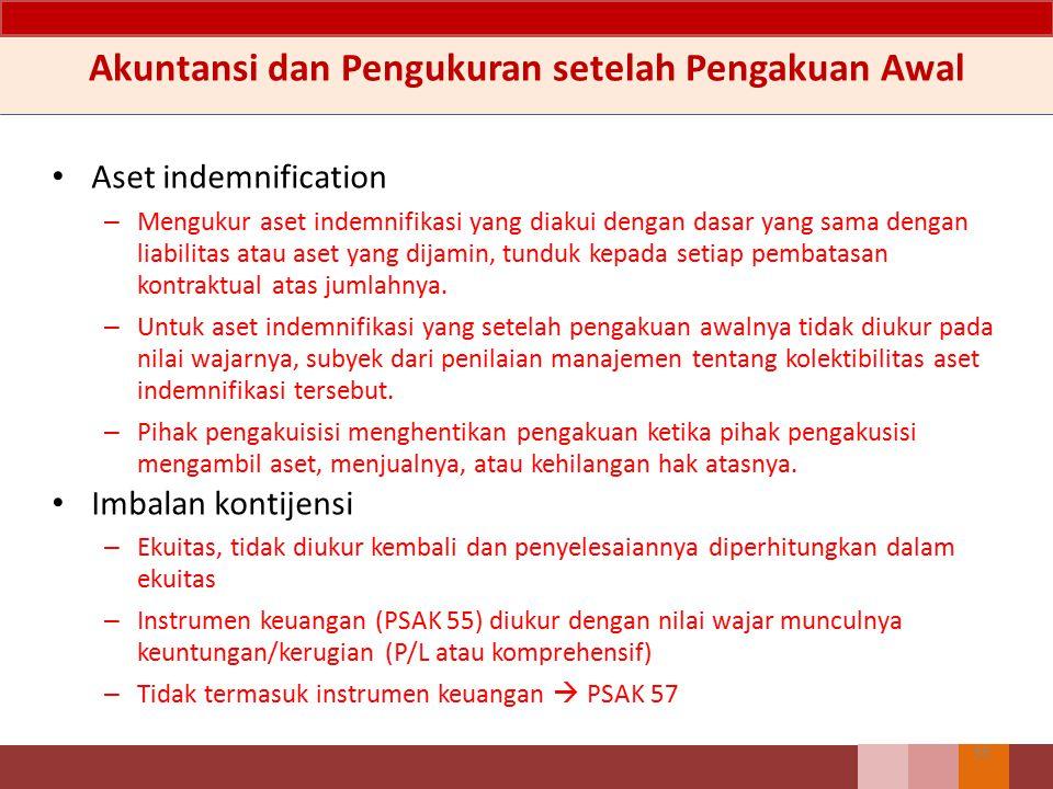 Akuntansi dan Pengukuran setelah Pengakuan Awal Aset indemnification – Mengukur aset indemnifikasi yang diakui dengan dasar yang sama dengan liabilita