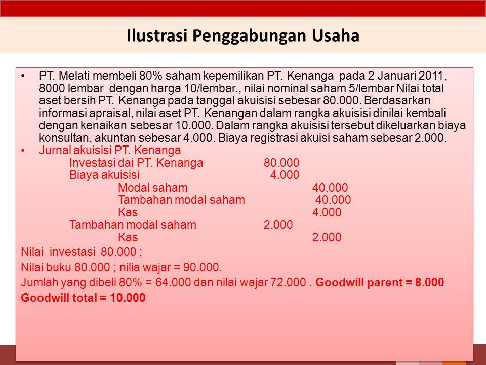Ilustrasi Penggabungan Usaha PT. Melati membeli 80% saham kepemilikan PT. Kenanga pada 2 Januari 2011, 8000 lembar dengan harga 10/lembar., nilai nomi