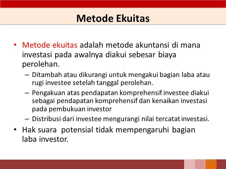 Metode Ekuitas Metode ekuitas adalah metode akuntansi di mana investasi pada awalnya diakui sebesar biaya perolehan. – Ditambah atau dikurangi untuk m