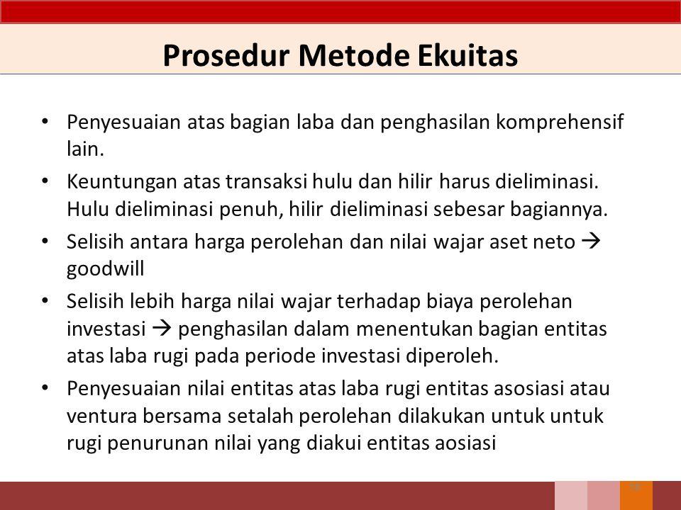 Prosedur Metode Ekuitas 58 Penyesuaian atas bagian laba dan penghasilan komprehensif lain. Keuntungan atas transaksi hulu dan hilir harus dieliminasi.