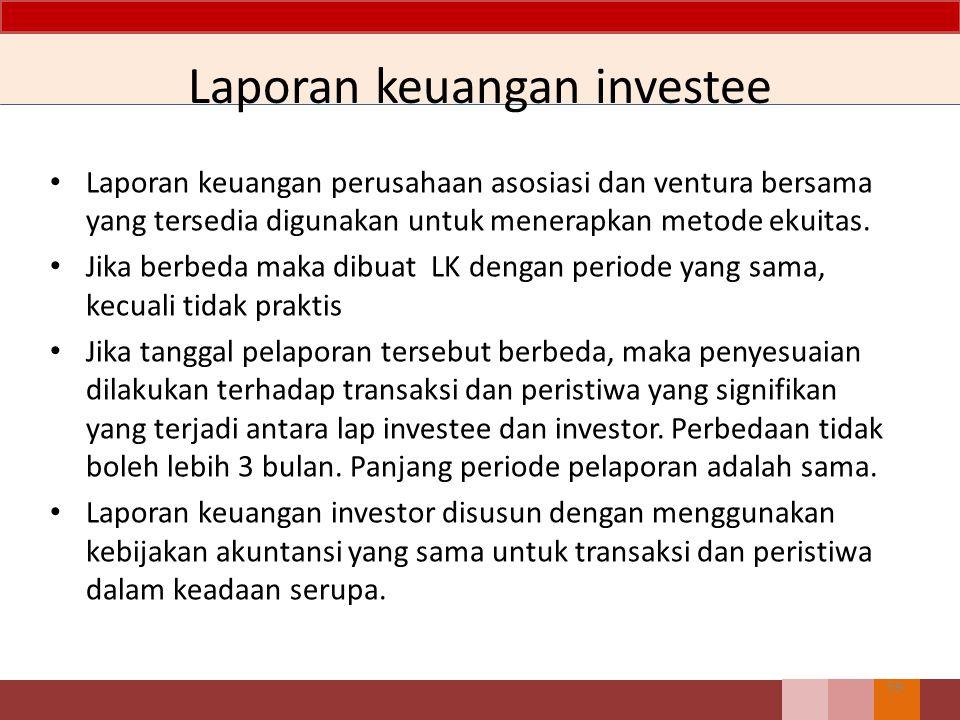 Laporan keuangan investee Laporan keuangan perusahaan asosiasi dan ventura bersama yang tersedia digunakan untuk menerapkan metode ekuitas. Jika berbe