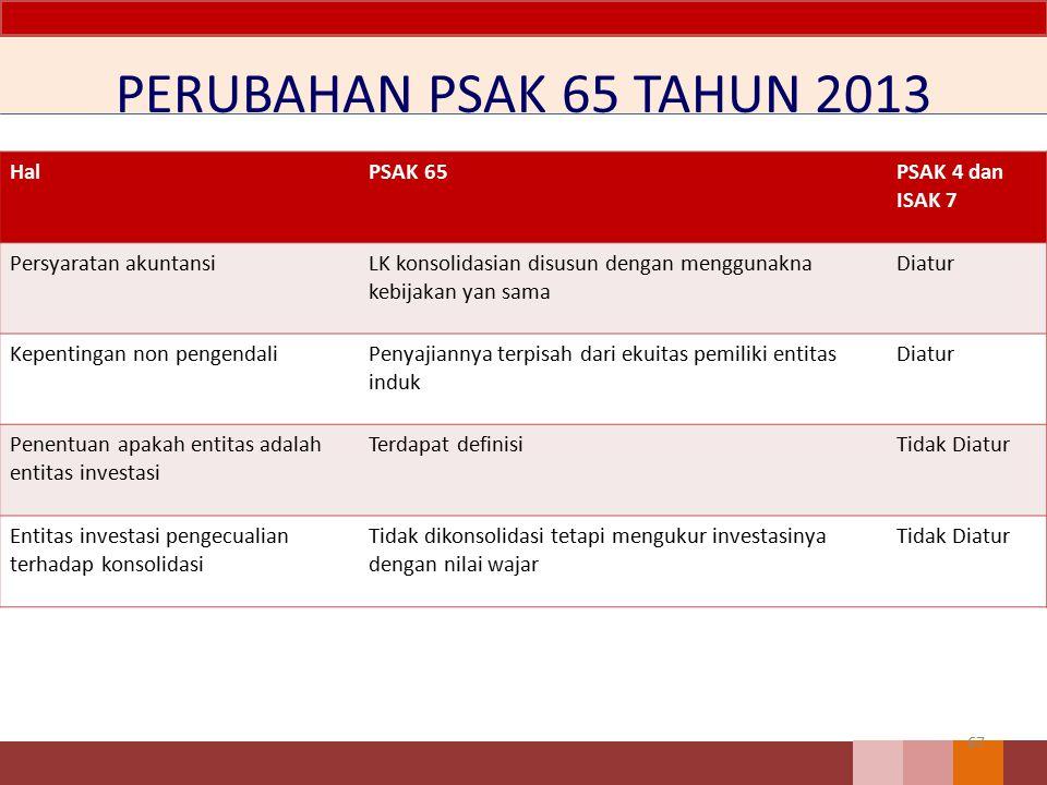 PERUBAHAN PSAK 65 TAHUN 2013 67 HalPSAK 65PSAK 4 dan ISAK 7 Persyaratan akuntansiLK konsolidasian disusun dengan menggunakna kebijakan yan sama Diatur