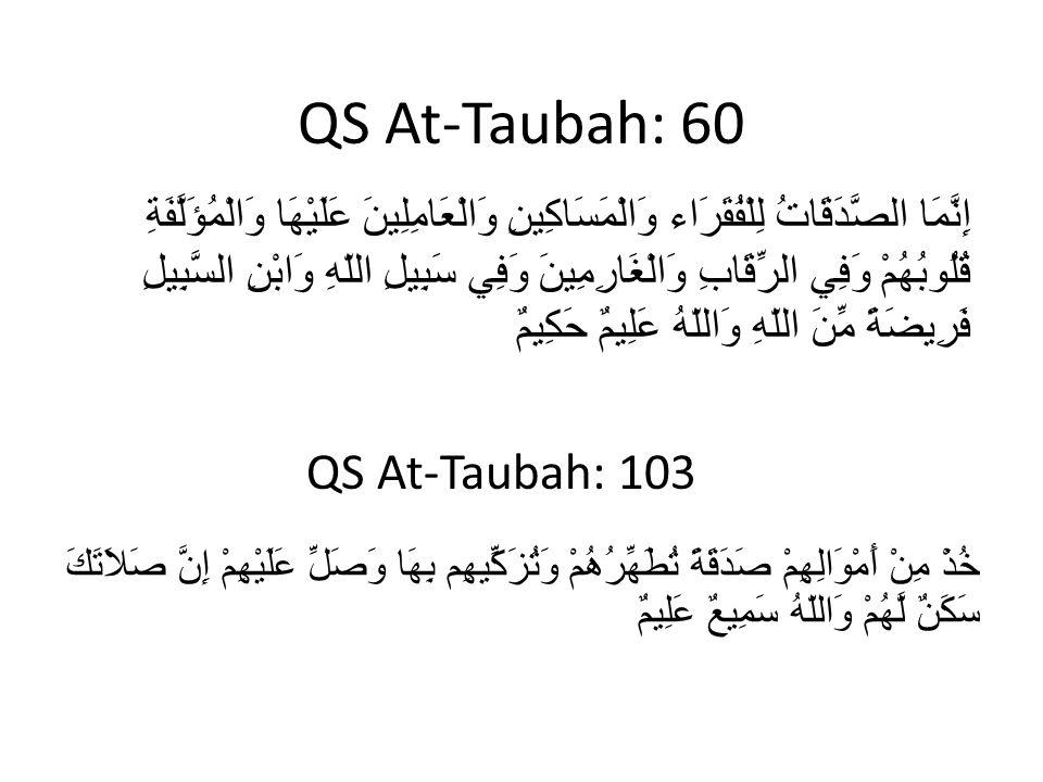 QS At-Taubah: 60 خُذْ مِنْ أَمْوَالِهِمْ صَدَقَةً تُطَهِّرُهُمْ وَتُزَكِّيهِم بِهَا وَصَلِّ عَلَيْهِمْ إِنَّ صَلاَتَكَ سَكَنٌ لَّهُمْ وَاللّهُ سَمِيعٌ