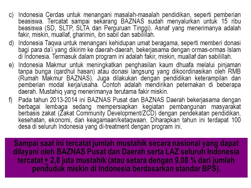 c)Indonesia Cerdas untuk menangani masalah-masalah pendidikan, seperti pemberian beasiswa. Tercatat sampai sekarang BAZNAS sudah menyalurkan untuk 15