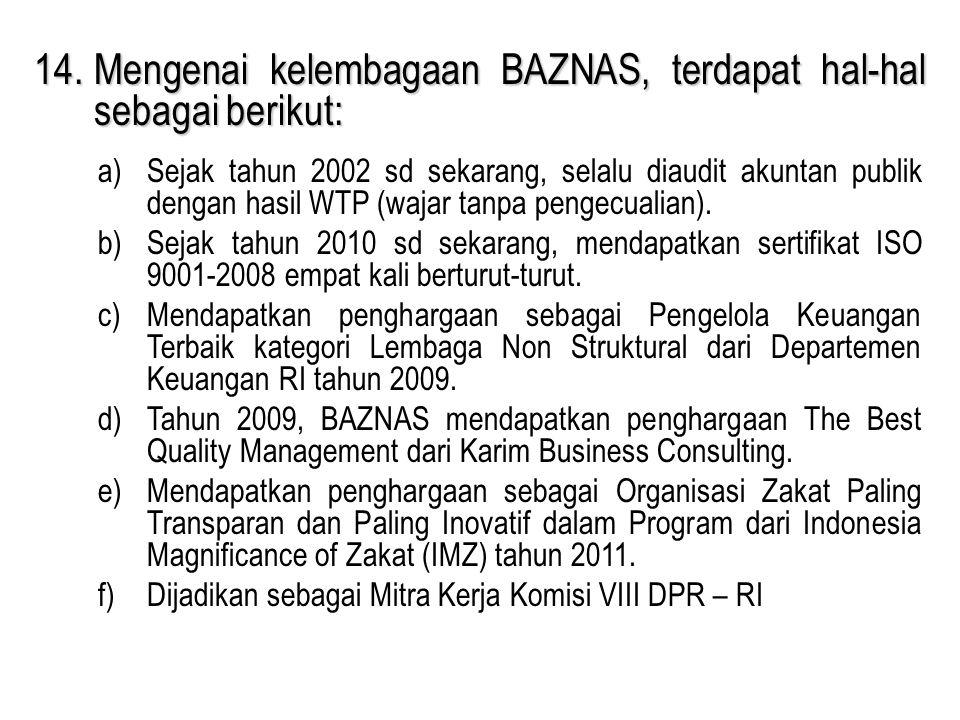14.Mengenai kelembagaan BAZNAS, terdapat hal-hal sebagai berikut: a)Sejak tahun 2002 sd sekarang, selalu diaudit akuntan publik dengan hasil WTP (waja