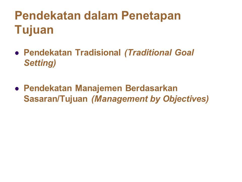 Pendekatan dalam Penetapan Tujuan Pendekatan Tradisional (Traditional Goal Setting) Pendekatan Manajemen Berdasarkan Sasaran/Tujuan (Management by Obj