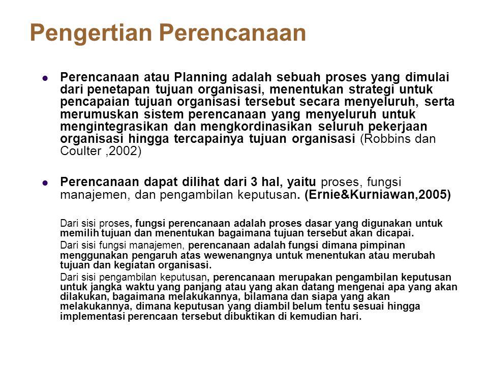 Pengertian Perencanaan Perencanaan atau Planning adalah sebuah proses yang dimulai dari penetapan tujuan organisasi, menentukan strategi untuk pencapa