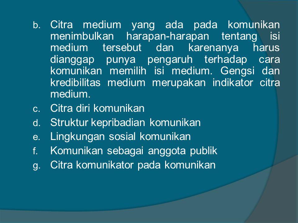 b. Citra medium yang ada pada komunikan menimbulkan harapan-harapan tentang isi medium tersebut dan karenanya harus dianggap punya pengaruh terhadap c