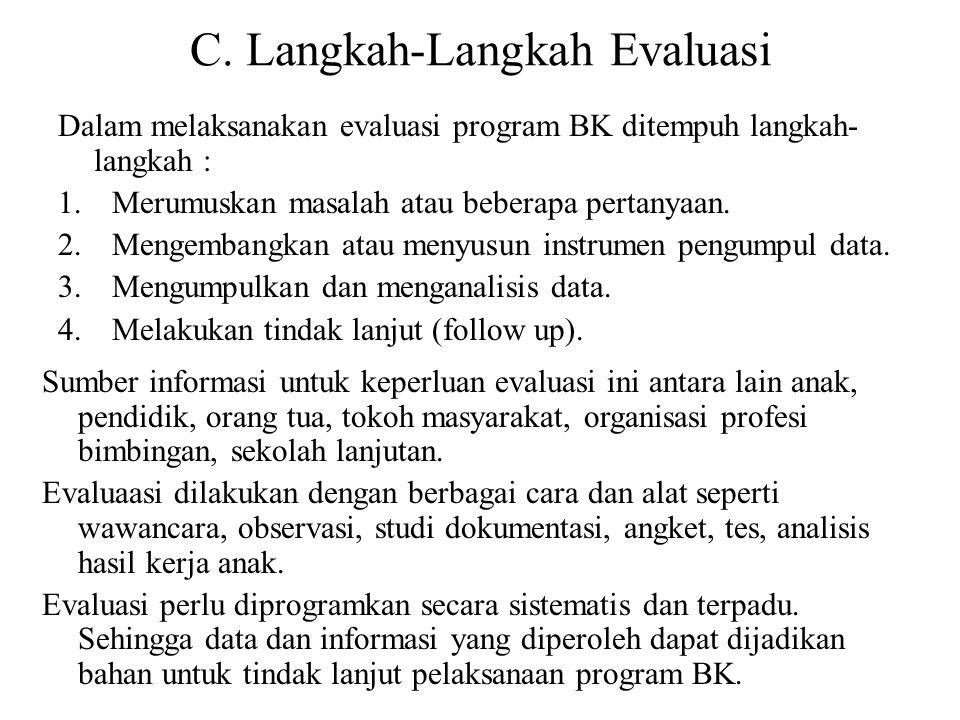 C. Langkah-Langkah Evaluasi Dalam melaksanakan evaluasi program BK ditempuh langkah- langkah : 1.Merumuskan masalah atau beberapa pertanyaan. 2.Mengem