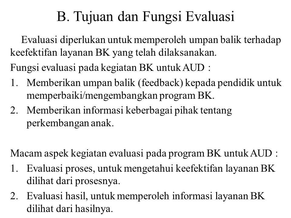 B. Tujuan dan Fungsi Evaluasi Evaluasi diperlukan untuk memperoleh umpan balik terhadap keefektifan layanan BK yang telah dilaksanakan. Fungsi evaluas