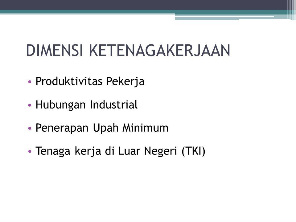 DIMENSI KETENAGAKERJAAN Produktivitas Pekerja Hubungan Industrial Penerapan Upah Minimum Tenaga kerja di Luar Negeri (TKI)