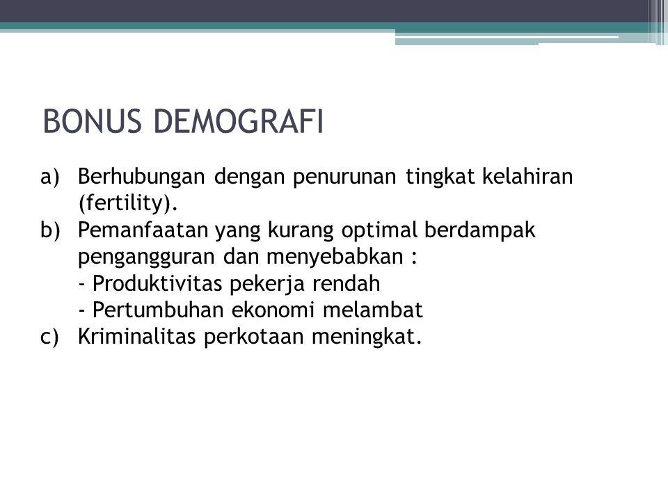 BONUS DEMOGRAFI a)Berhubungan dengan penurunan tingkat kelahiran (fertility). b)Pemanfaatan yang kurang optimal berdampak pengangguran dan menyebabkan
