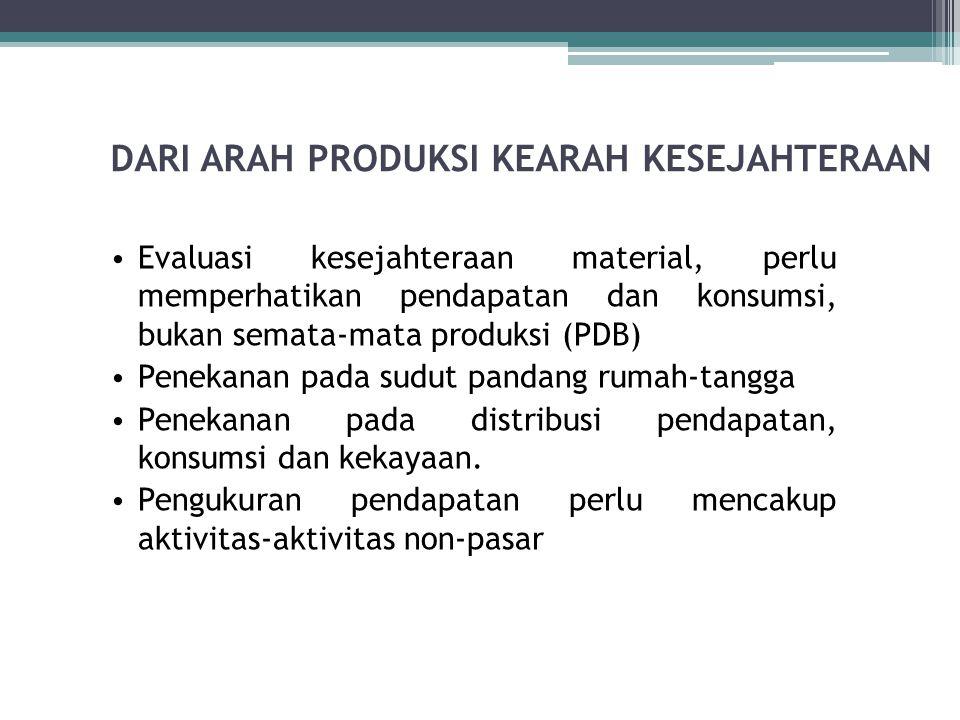 DARI ARAH PRODUKSI KEARAH KESEJAHTERAAN Evaluasi kesejahteraan material, perlu memperhatikan pendapatan dan konsumsi, bukan semata-mata produksi (PDB)