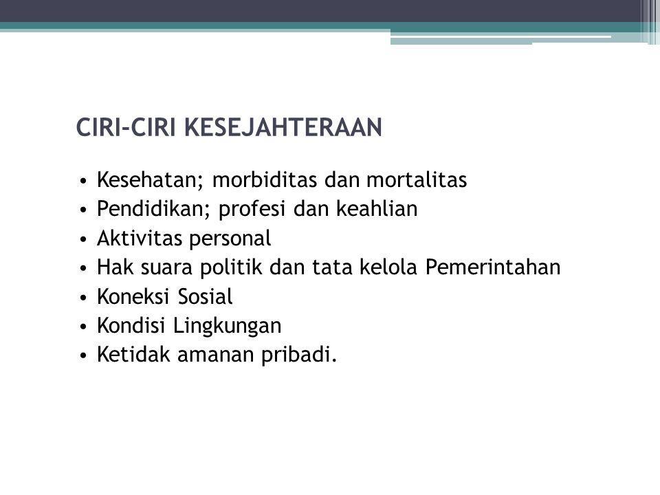 CIRI-CIRI KESEJAHTERAAN Kesehatan; morbiditas dan mortalitas Pendidikan; profesi dan keahlian Aktivitas personal Hak suara politik dan tata kelola Pem