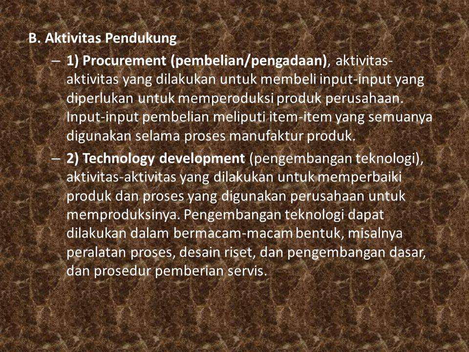 B. Aktivitas Pendukung – 1) Procurement (pembelian/pengadaan), aktivitas- aktivitas yang dilakukan untuk membeli input-input yang diperlukan untuk mem