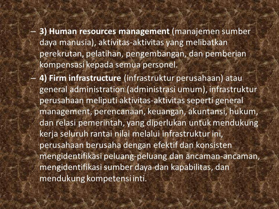 – 3) Human resources management (manajemen sumber daya manusia), aktivitas-aktivitas yang melibatkan perekrutan, pelatihan, pengembangan, dan pemberia