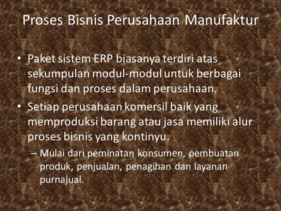 Proses Bisnis Perusahaan Manufaktur Paket sistem ERP biasanya terdiri atas sekumpulan modul-modul untuk berbagai fungsi dan proses dalam perusahaan. S