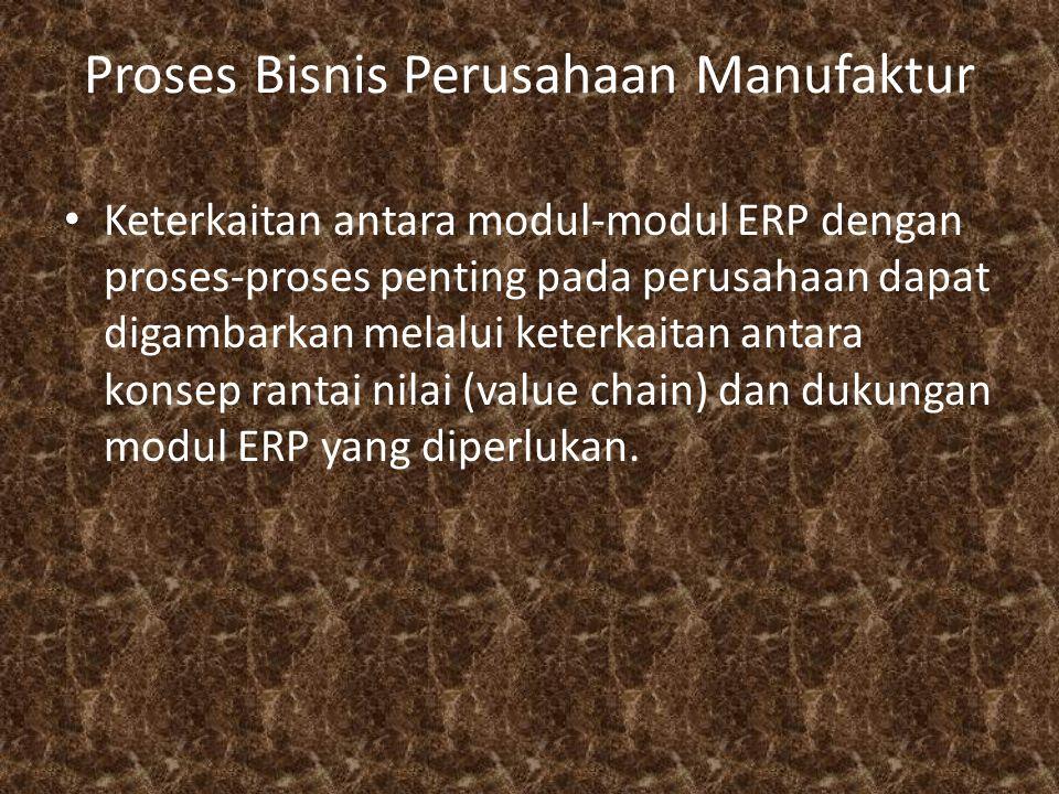 Proses Bisnis Perusahaan Manufaktur Keterkaitan antara modul-modul ERP dengan proses-proses penting pada perusahaan dapat digambarkan melalui keterkai