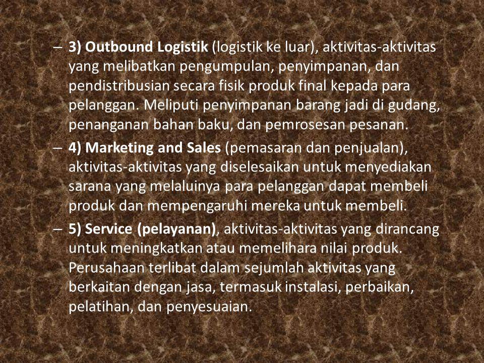– 3) Outbound Logistik (logistik ke luar), aktivitas-aktivitas yang melibatkan pengumpulan, penyimpanan, dan pendistribusian secara fisik produk final