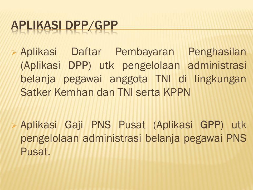  Aplikasi Daftar Pembayaran Penghasilan (Aplikasi DPP) utk pengelolaan administrasi belanja pegawai anggota TNI di lingkungan Satker Kemhan dan TNI serta KPPN  Aplikasi Gaji PNS Pusat (Aplikasi GPP) utk pengelolaan administrasi belanja pegawai PNS Pusat.