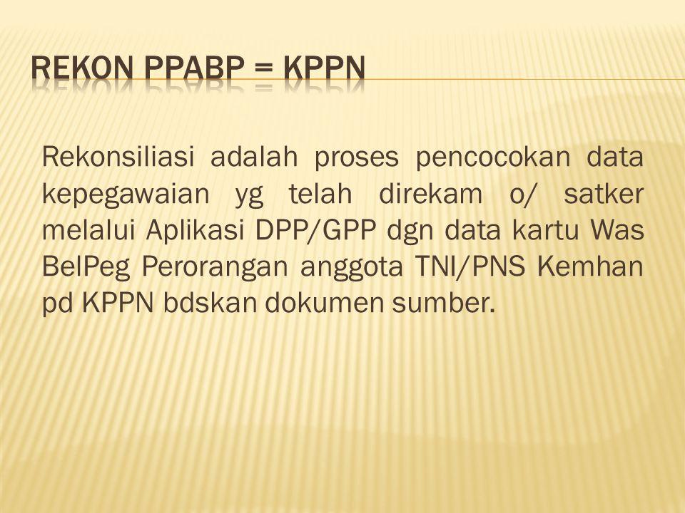 Rekonsiliasi adalah proses pencocokan data kepegawaian yg telah direkam o/ satker melalui Aplikasi DPP/GPP dgn data kartu Was BelPeg Perorangan anggota TNI/PNS Kemhan pd KPPN bdskan dokumen sumber.