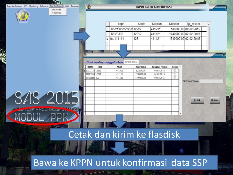 Cetak dan kirim ke flasdisk Bawa ke KPPN untuk konfirmasi data SSP