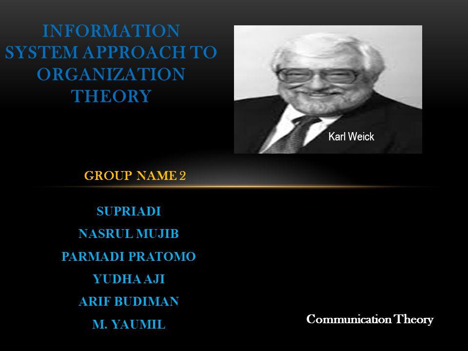 SUPRIADI NASRUL MUJIB PARMADI PRATOMO YUDHA AJI ARIF BUDIMAN M. YAUMIL INFORMATION SYSTEM APPROACH TO ORGANIZATION THEORY GROUP NAME 2 Communication T