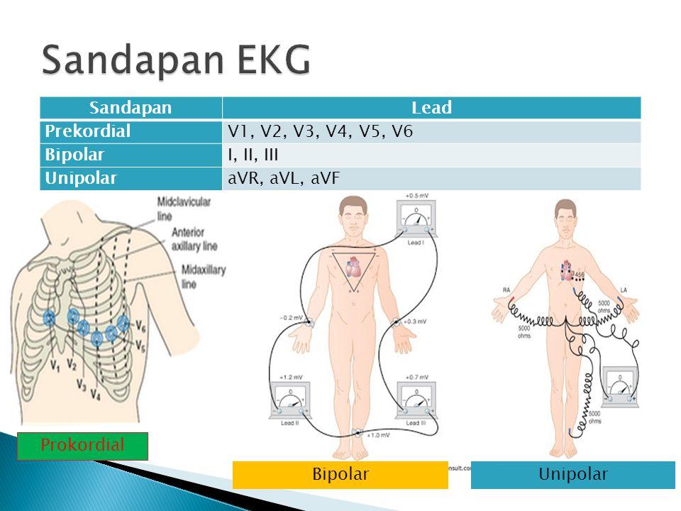 SandapanLead PrekordialV1, V2, V3, V4, V5, V6 BipolarI, II, III UnipolaraVR, aVL, aVF Prokordial BipolarUnipolar