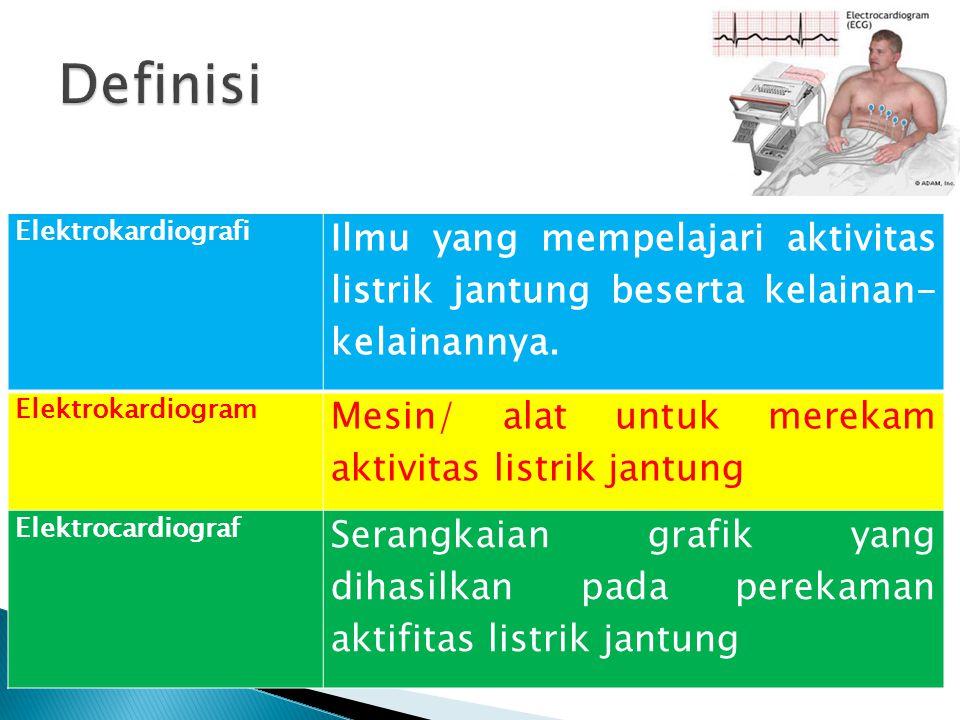 1.Mengetahui gangguan hantaran (aritmia) 2.Mengetahui daerah iskemik dan infark miokard 3.Mengetahui pembesaran/ hipertrofi atrium dan ventrikel 4.Mengetahui efek obat-obatan, terutama digitalis dan anti aritmia 5.Mengetahui gangguan keseimbangan elektrolit, khusus kalium 6.Mengetahui penilaian fungsi pacu jantung sebagai sarana untuk menilai keberhasilan tindakan pengobatan yang telah dibersihkan, dan sebagai sarana evaluasi dari tindakan latihan yang telah dilakukan.