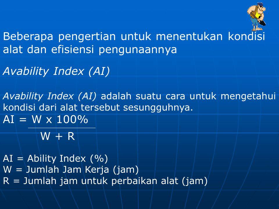 Beberapa pengertian untuk menentukan kondisi alat dan efisiensi pengunaannya Avability Index (AI) Avability Index (AI) adalah suatu cara untuk mengetahui kondisi dari alat tersebut sesungguhnya.