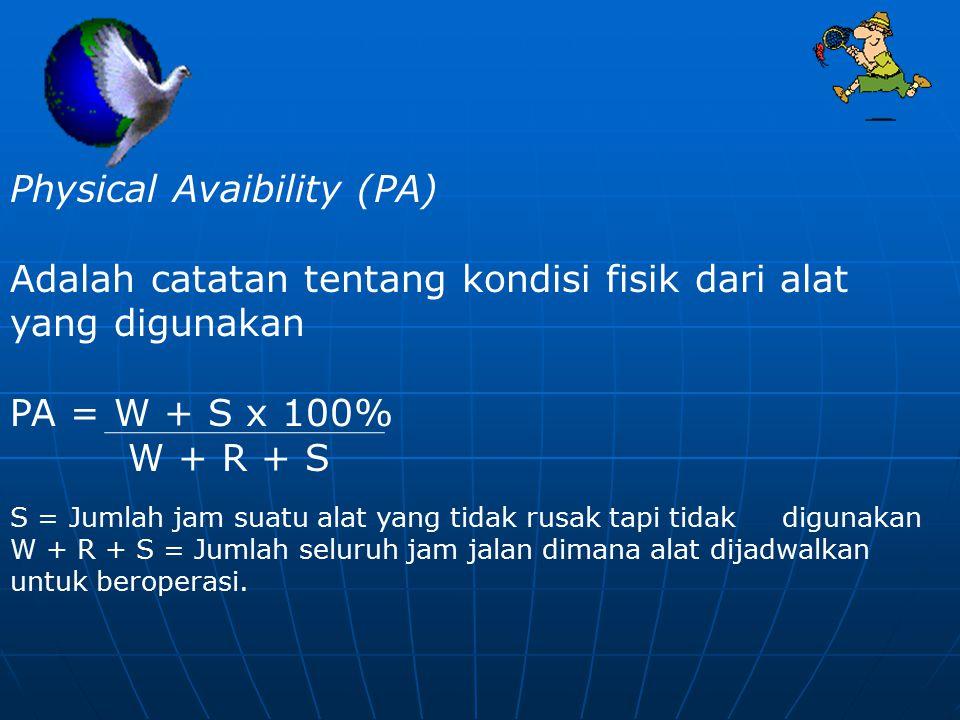 Physical Avaibility (PA) Adalah catatan tentang kondisi fisik dari alat yang digunakan PA = W + S x 100% W + R + S S = Jumlah jam suatu alat yang tida