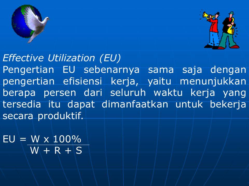 Effective Utilization (EU) Pengertian EU sebenarnya sama saja dengan pengertian efisiensi kerja, yaitu menunjukkan berapa persen dari seluruh waktu ke