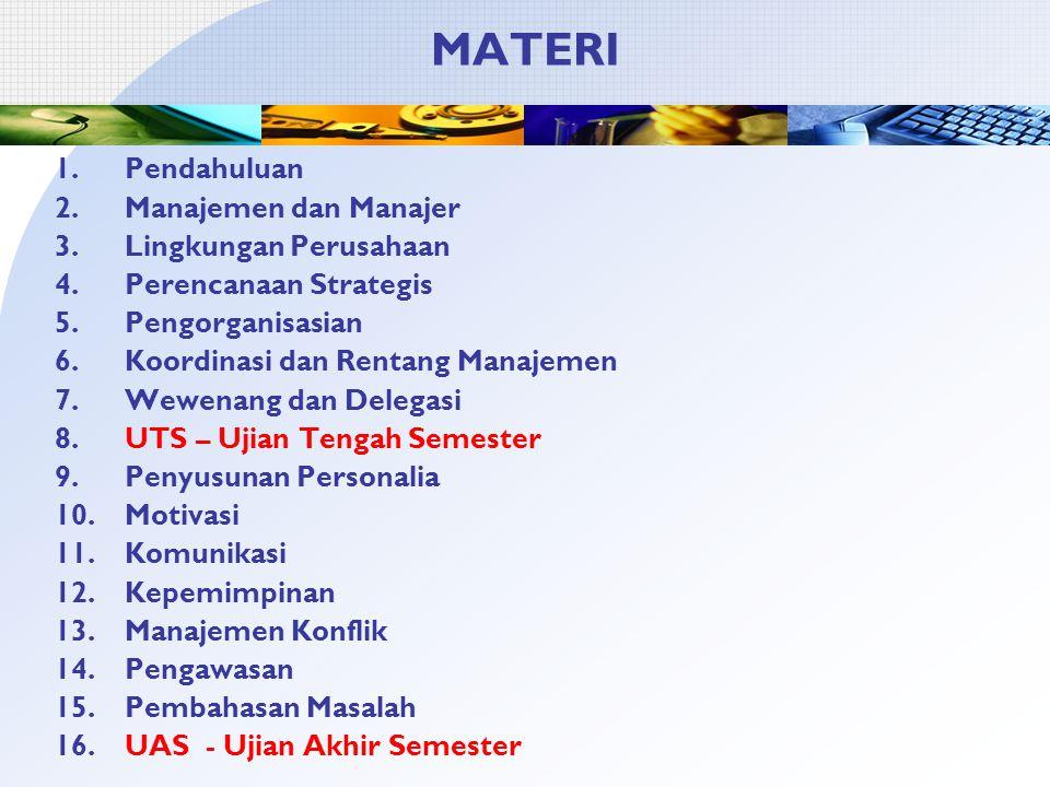 MATERI 1.Pendahuluan 2.Manajemen dan Manajer 3.Lingkungan Perusahaan 4.Perencanaan Strategis 5.Pengorganisasian 6.Koordinasi dan Rentang Manajemen 7.Wewenang dan Delegasi 8.UTS – Ujian Tengah Semester 9.Penyusunan Personalia 10.Motivasi 11.Komunikasi 12.Kepemimpinan 13.Manajemen Konflik 14.Pengawasan 15.Pembahasan Masalah 16.UAS - Ujian Akhir Semester
