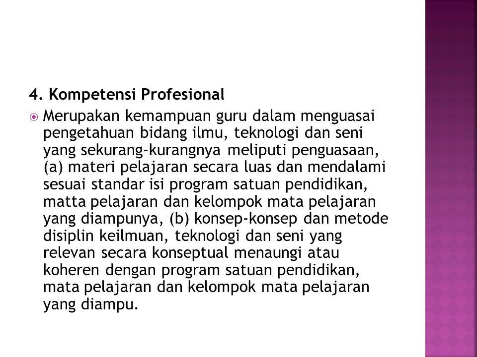 4. Kompetensi Profesional  Merupakan kemampuan guru dalam menguasai pengetahuan bidang ilmu, teknologi dan seni yang sekurang-kurangnya meliputi peng