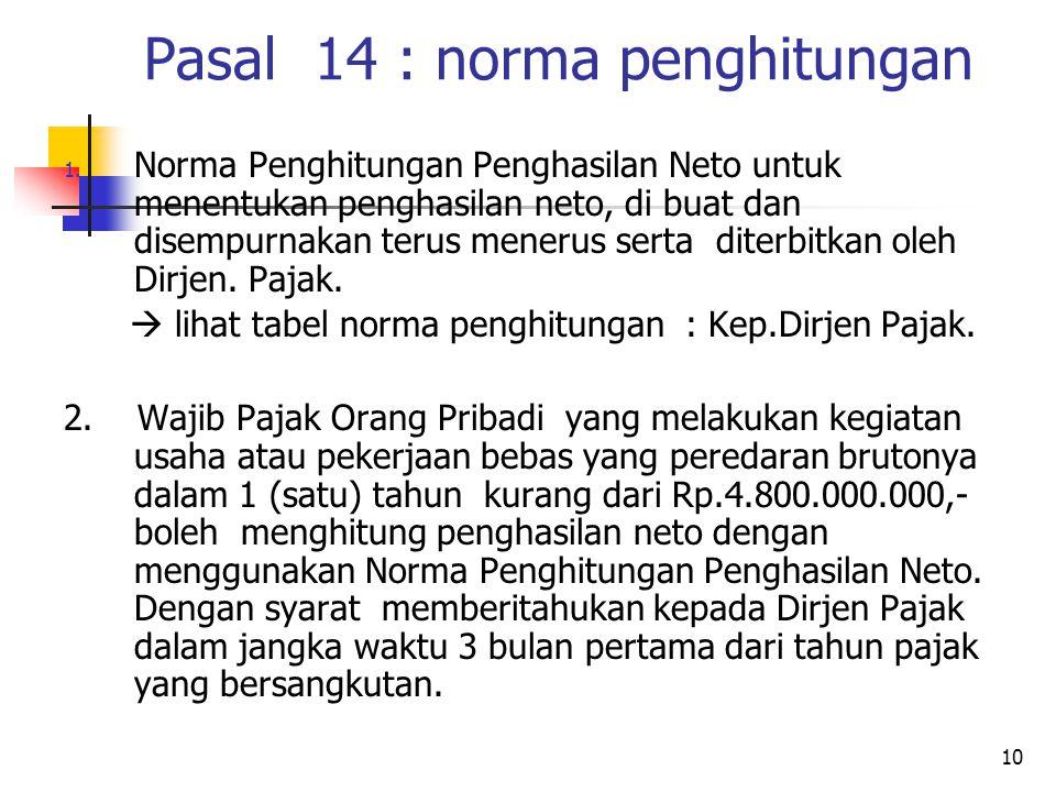 10 Pasal 14 : norma penghitungan 1.