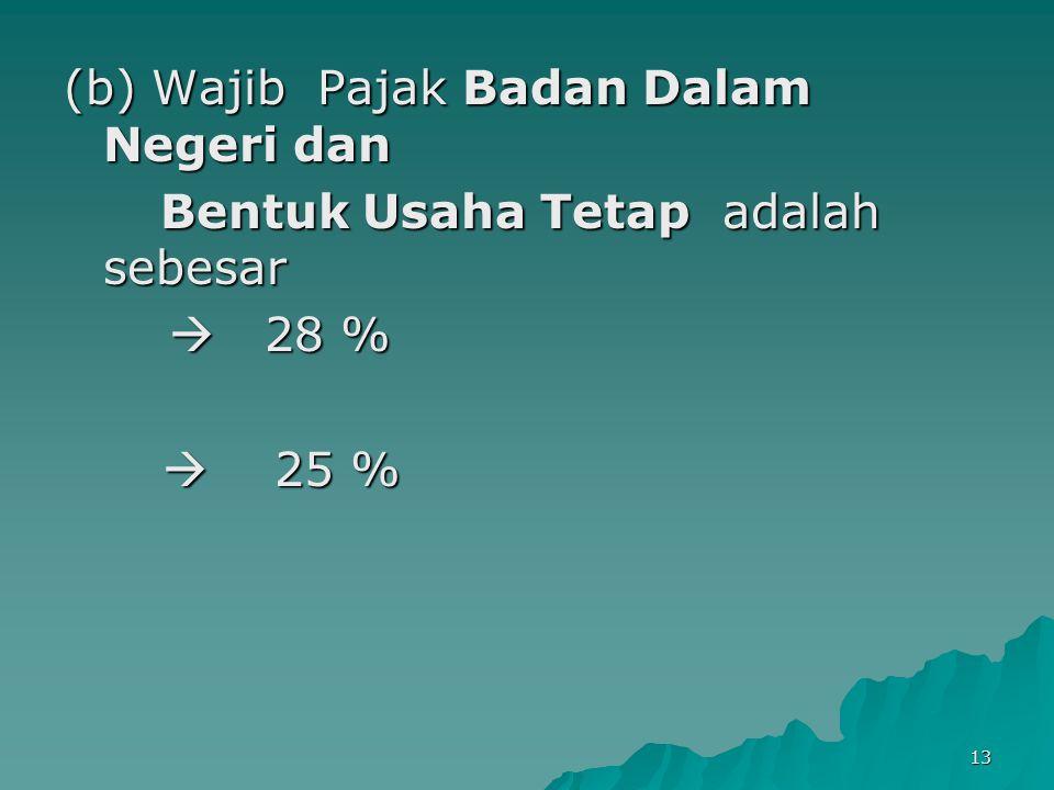 13 (b) Wajib Pajak Badan Dalam Negeri dan Bentuk Usaha Tetap adalah sebesar Bentuk Usaha Tetap adalah sebesar  28 %  25 %  25 %
