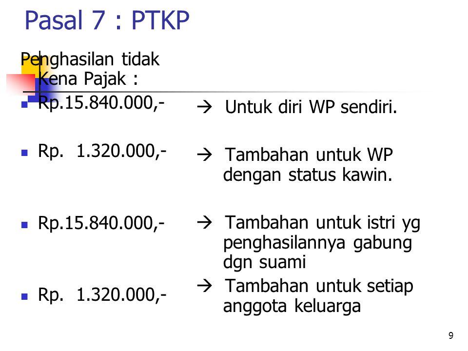 9 Pasal 7 : PTKP Penghasilan tidak Kena Pajak : Rp.15.840.000,- Rp.