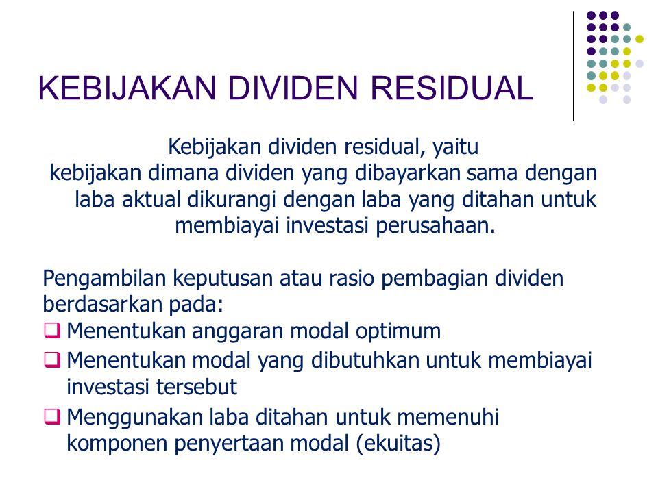 KEBIJAKAN DIVIDEN RESIDUAL Kebijakan dividen residual, yaitu kebijakan dimana dividen yang dibayarkan sama dengan laba aktual dikurangi dengan laba ya